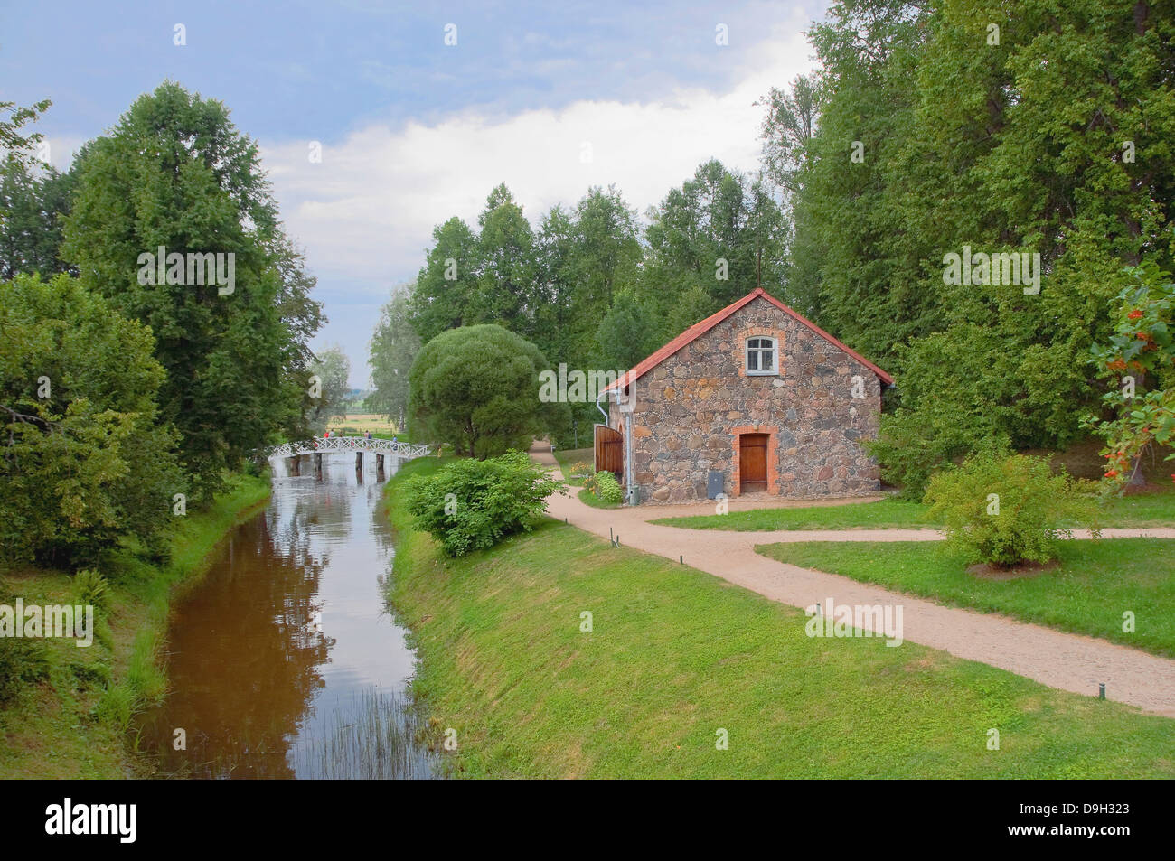 Large stone barn - Fair in the Park Manor Mikhailovskoe. Museum - Reserve Pushkin. - Stock Image