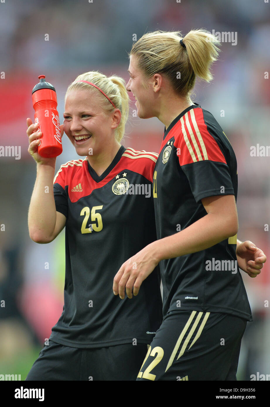 Germany's Leonie Maier (L) cheers with her teammate Luisa Wensing after the international women's soccer - Stock Image