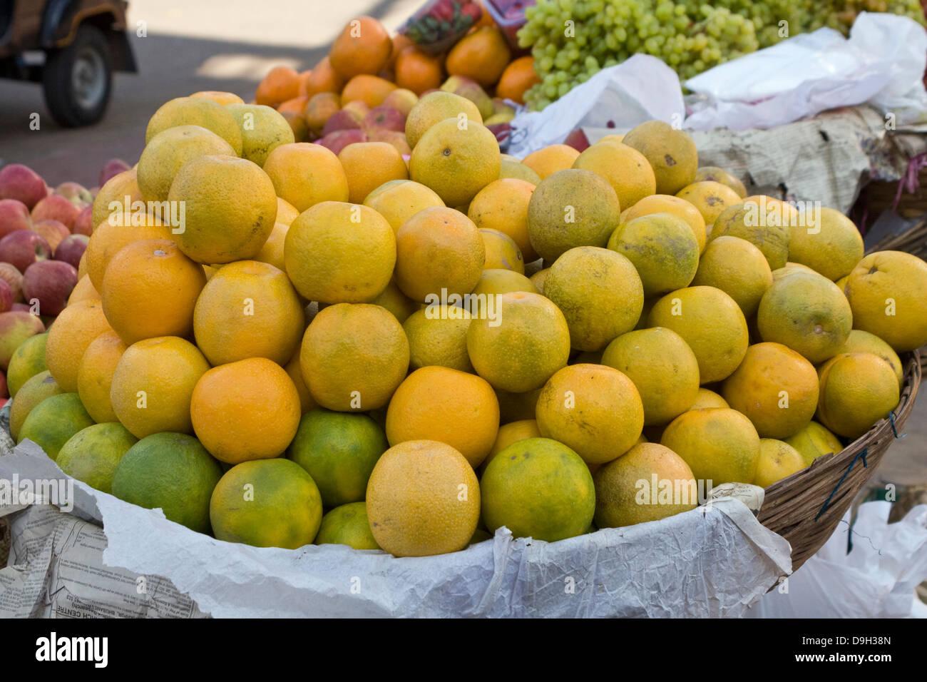 Asia, India, Karnataka, Mysore, Market stall with oranges Stock Photo