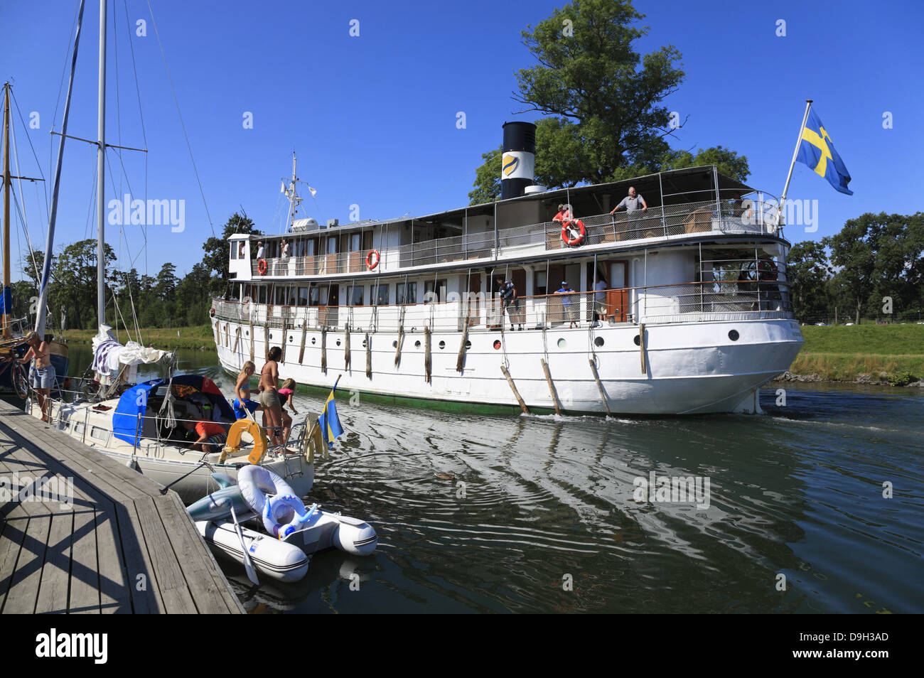 Old passenger steamship DIANA on the Gota Canal at Borensberg, Sweden, Scandinavia - Stock Image