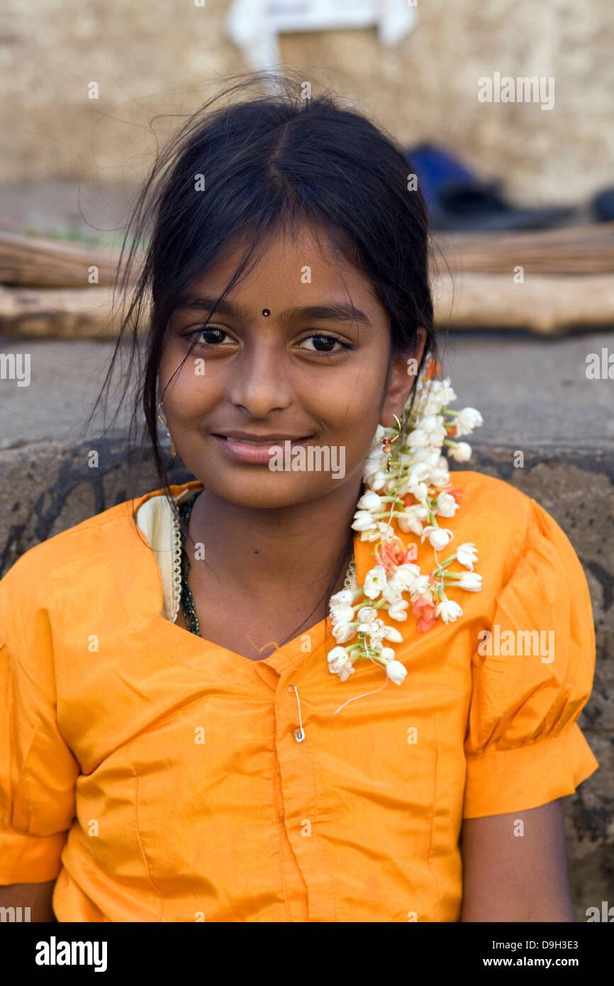 Asia India Karnataka Mysore Portrait Of An Indian Girl