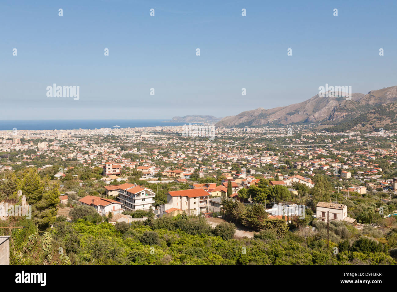 Conca D'oro, View accross the bay of Palermo, Sicily, Italy - Stock Image