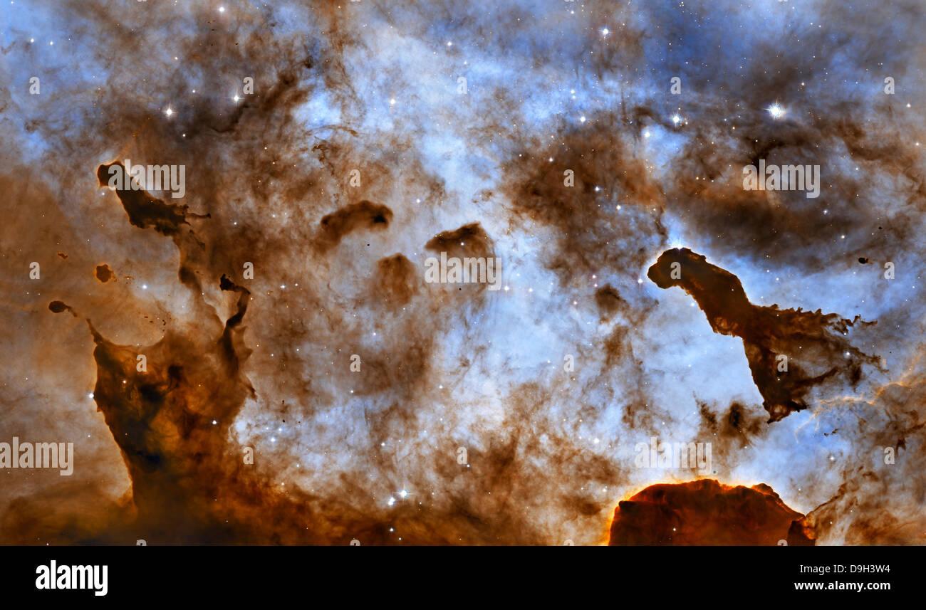 Carina Nebula Star-Forming Pillars. - Stock Image