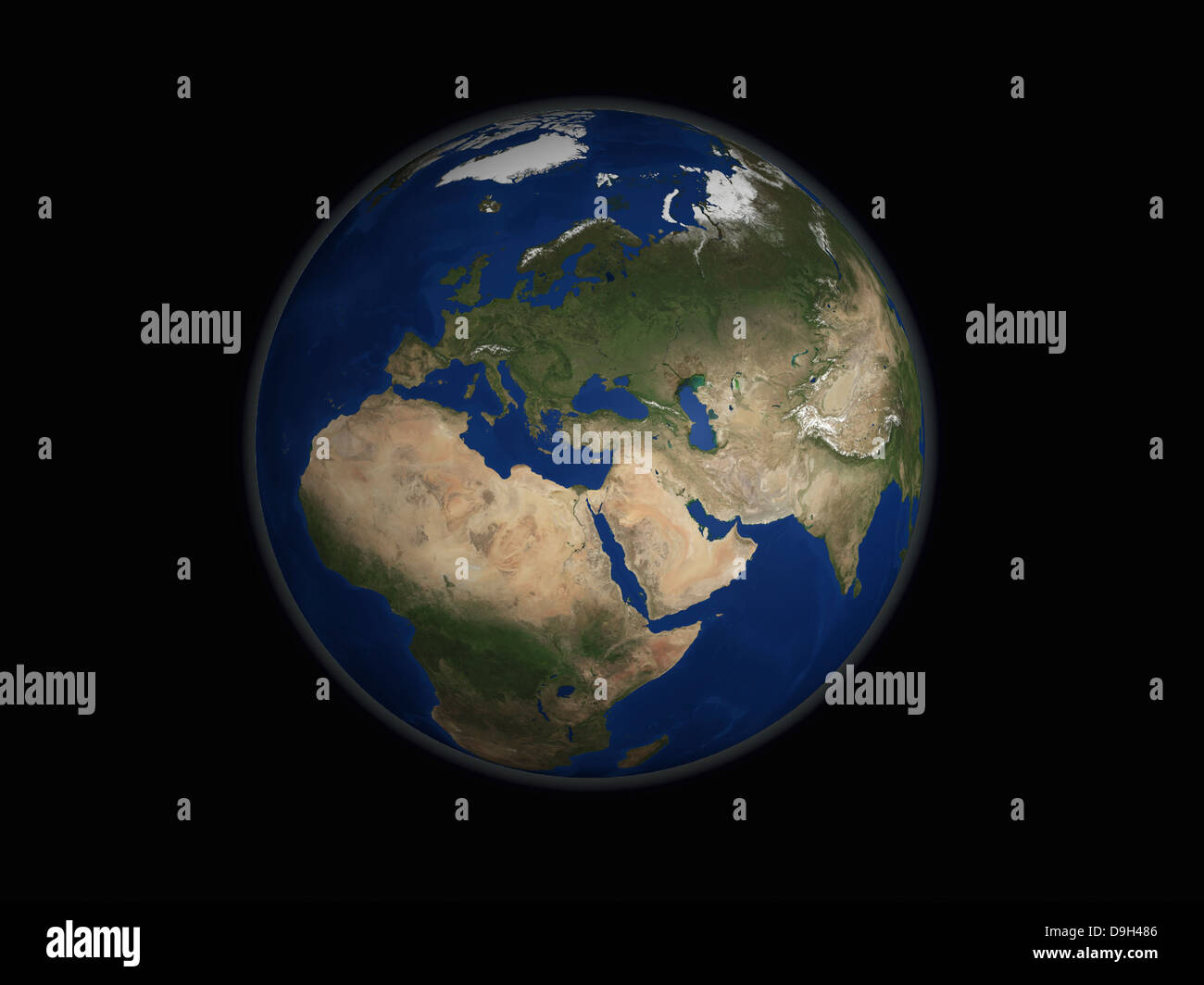 Full Earth view showing Africa, Europe, the Middle East, and India. - Stock Image