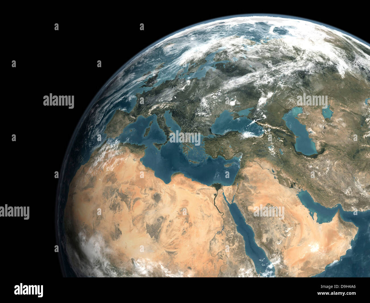 Global view of earth over Europe, Middle East, and northern Africa. - Stock Image