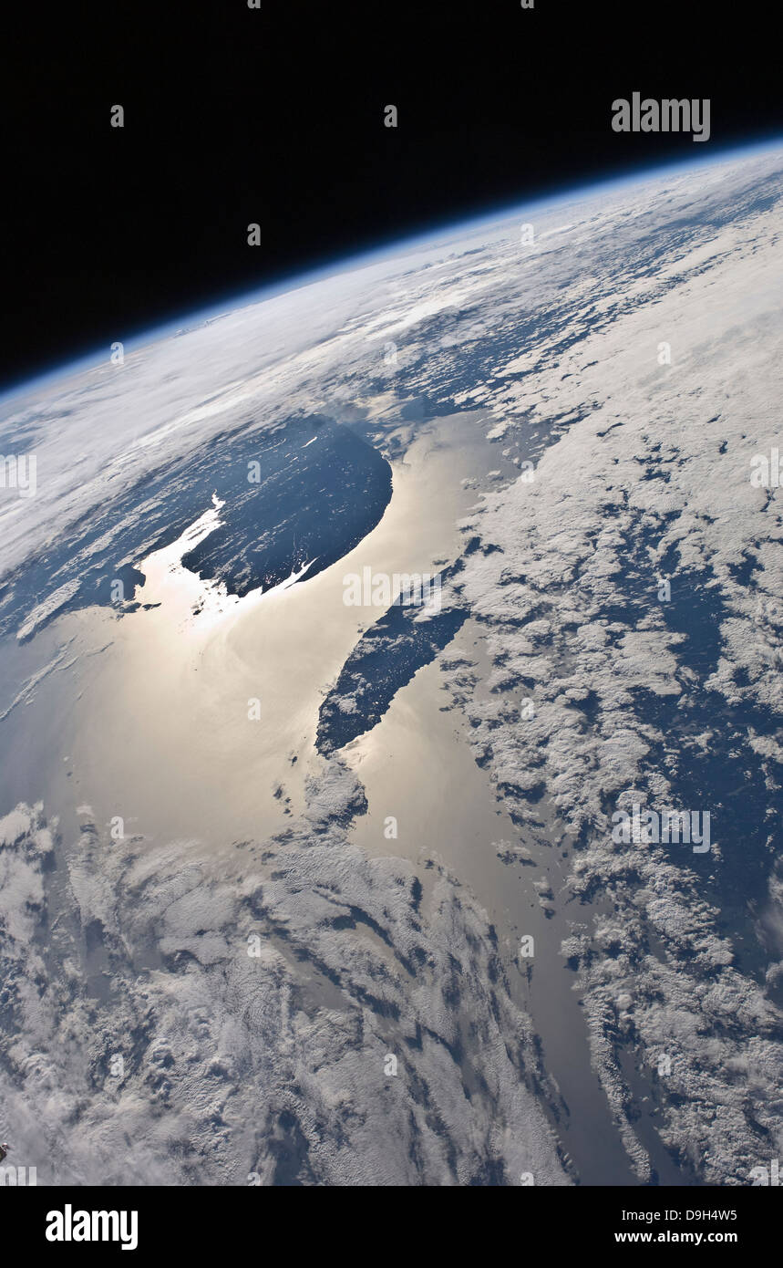 High-oblique view of the Gaspe Peninsula and Anticosti Island - Stock Image