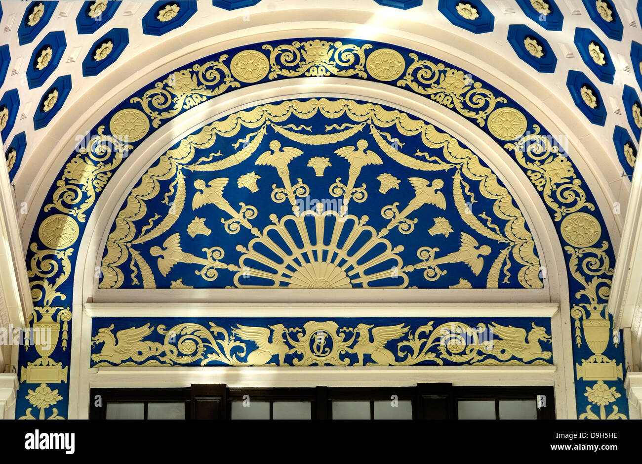 London, England, UK. Empire Theatre / Cinema, Leicester Square. Decorative detail on facade - Stock Image