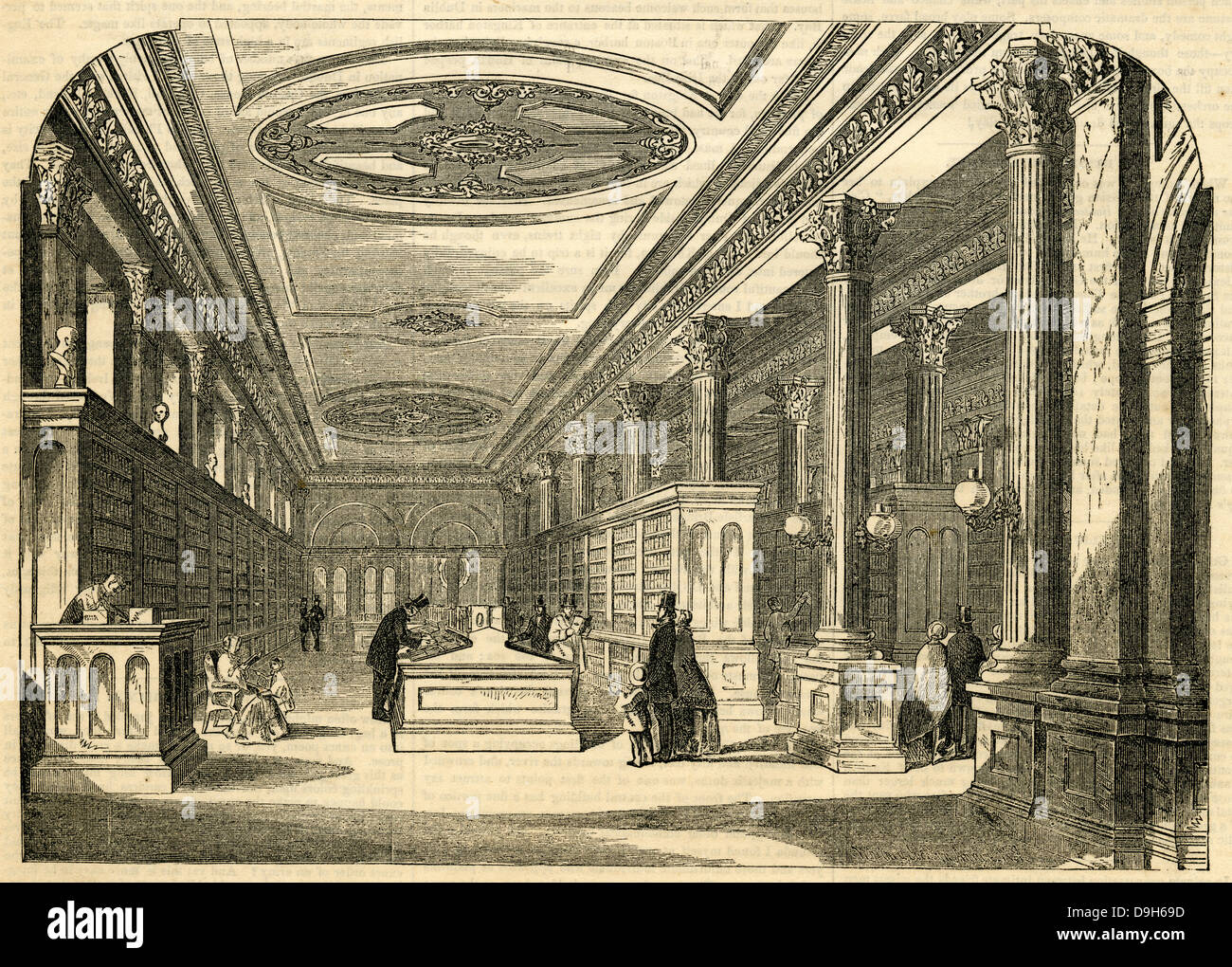 1854 engraving, Interior View of the Principle Sales-Room of D. Appleton & Co.'s Bookstore, 346 and 348 - Stock Image