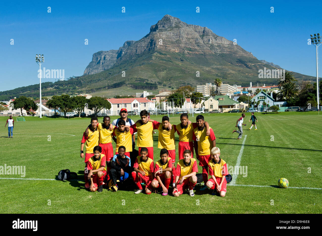 Rygersdal Football Club U15 junior team before a match, Cape Town, South Africa - Stock Image
