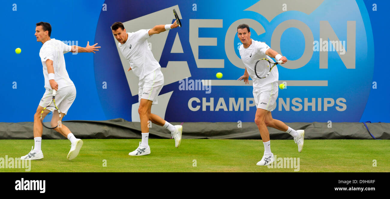 Kenny de Schepper (France) Composite picture of three images - playing backhand strokes - Stock Image