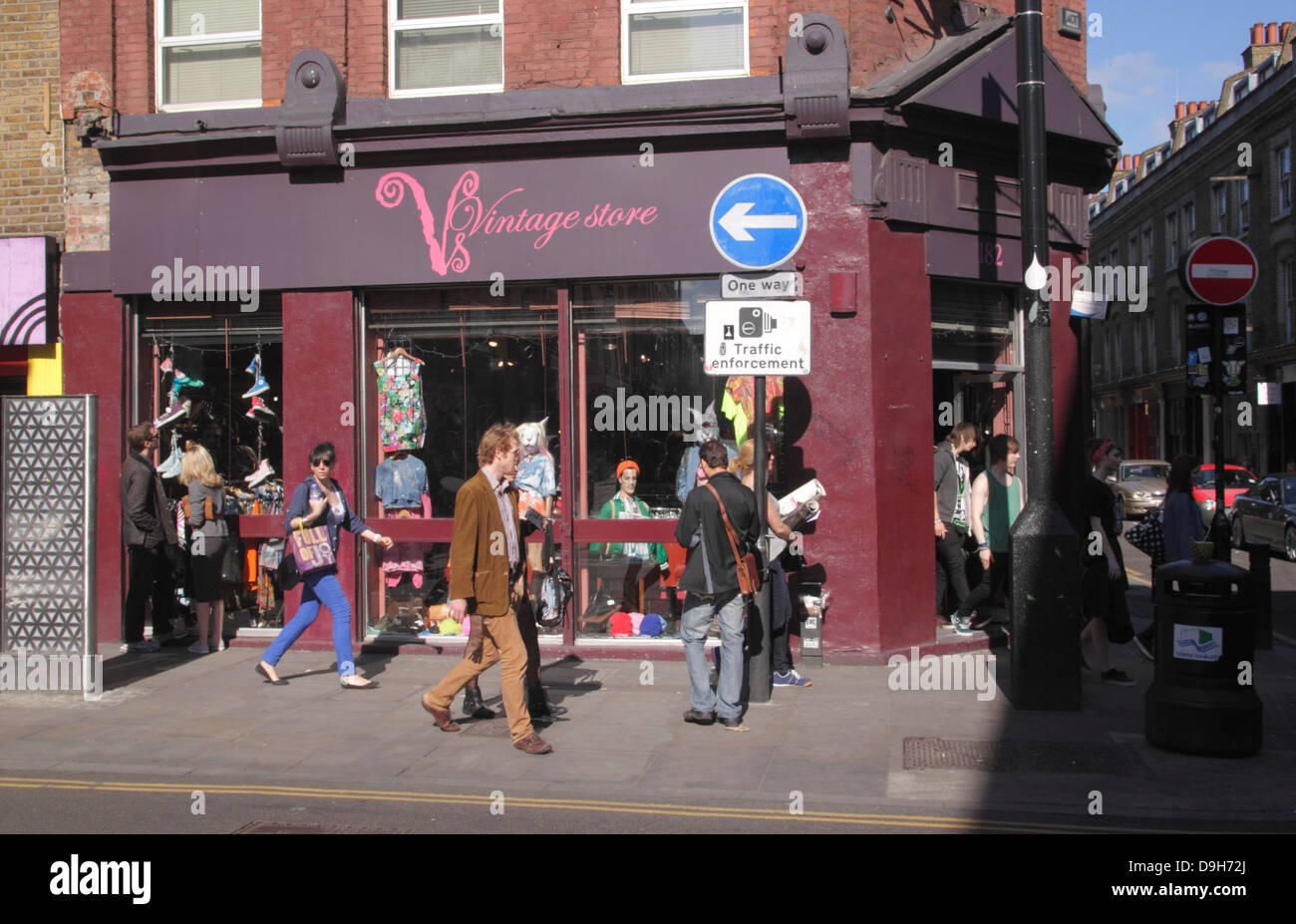 Vintage Store Retro Clothes Shop Brick Lane London Stock Photo