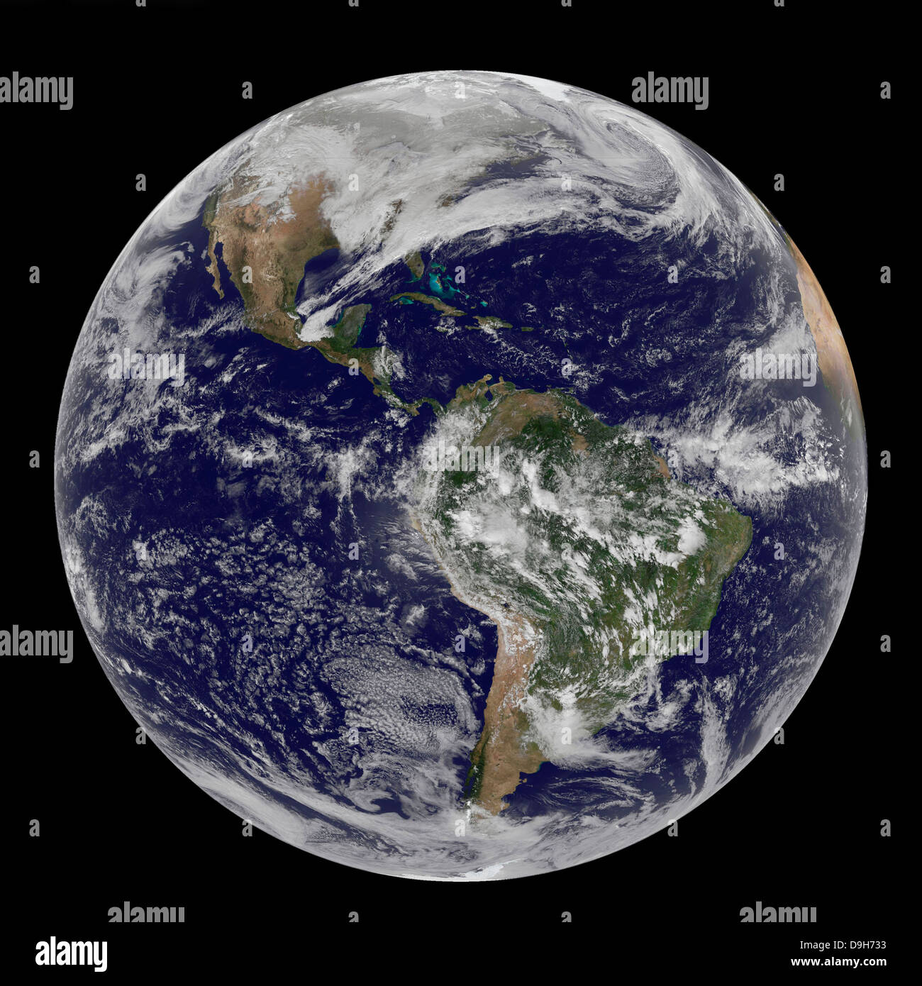 Full Earth showing North and South America. - Stock Image
