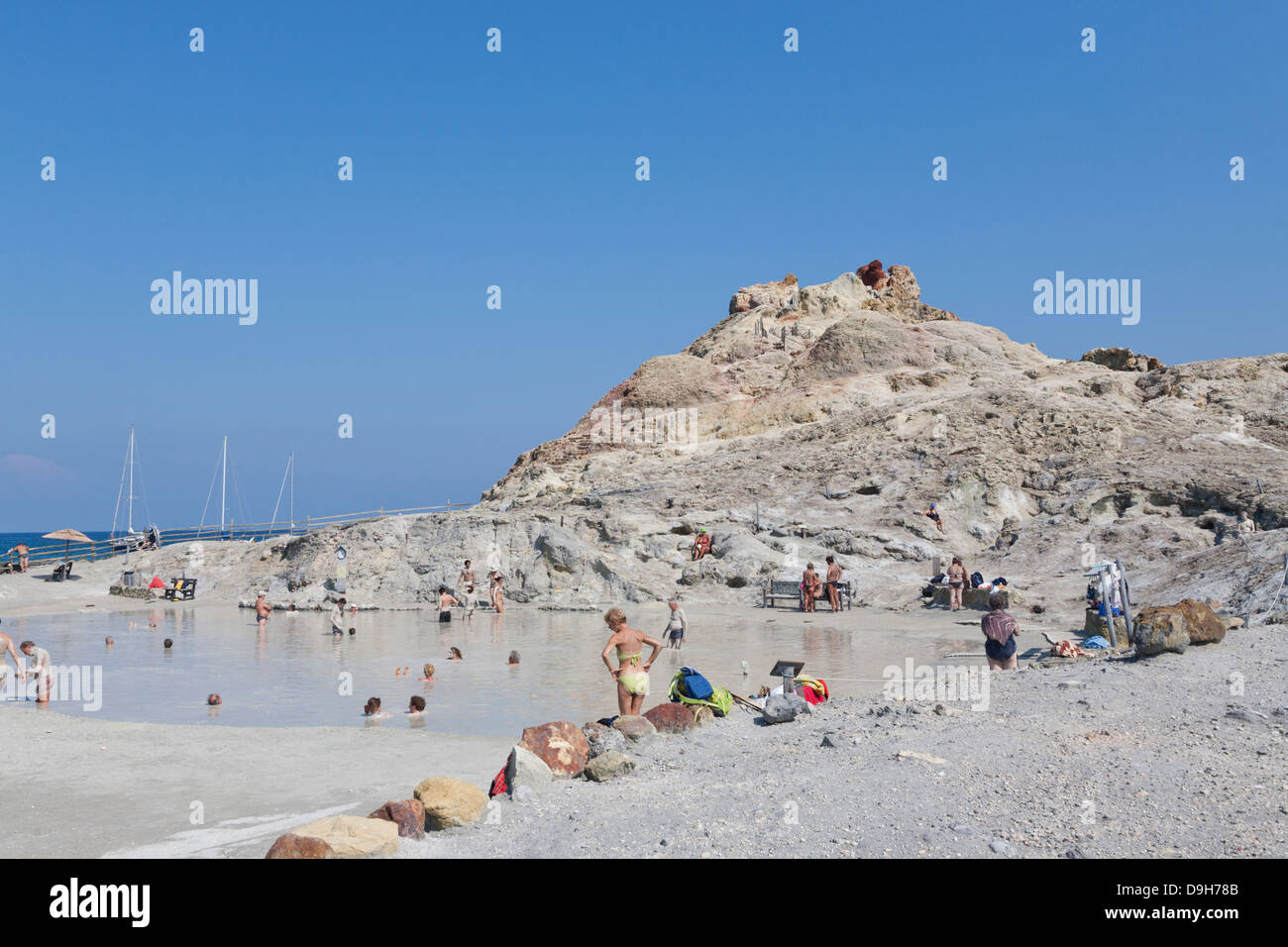 Fanghi, Mud Baths, Vulcano, Aeolian Islands, Italy - Stock Image