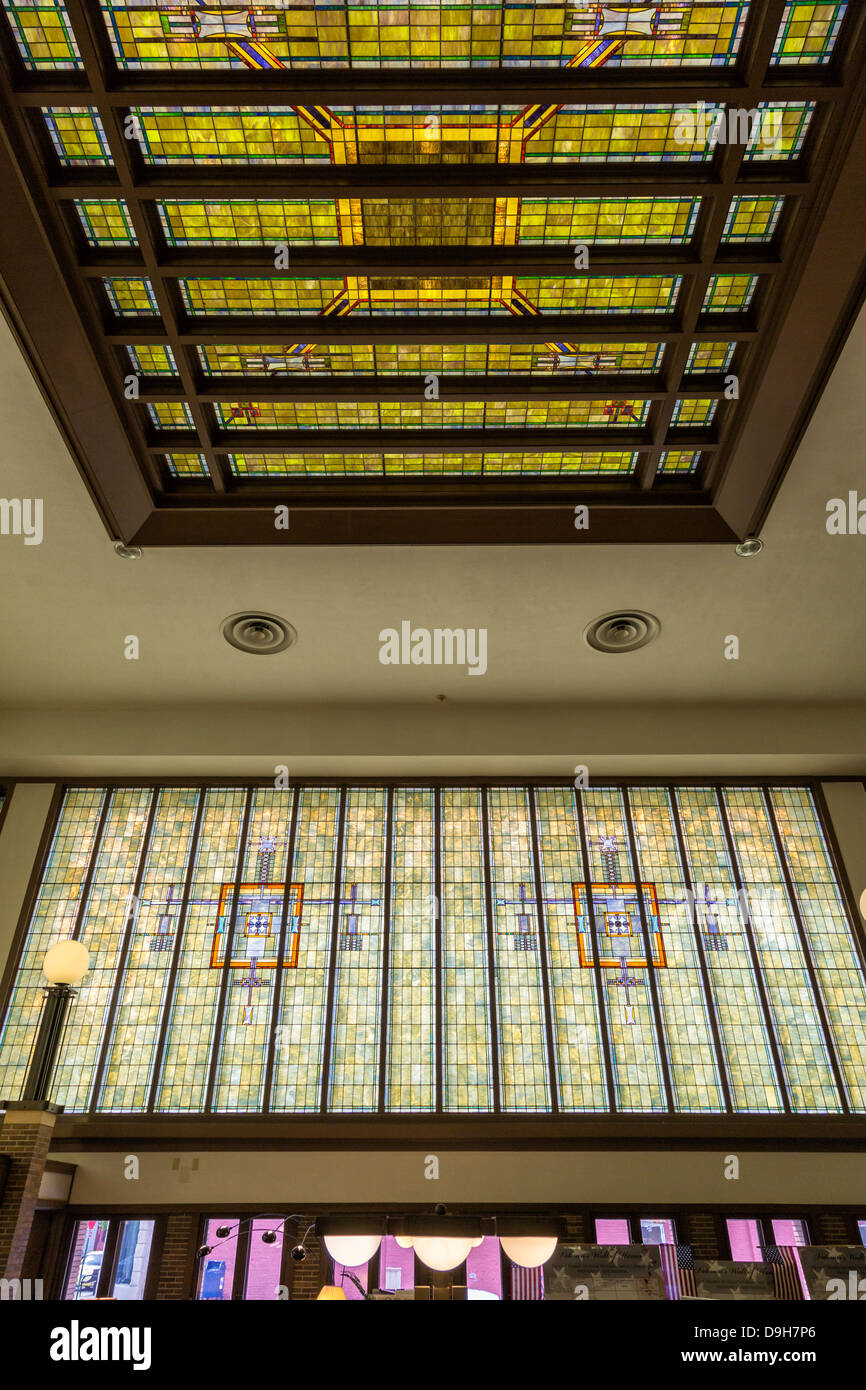 Merchants National Bank in Winona, MN with renowned architecture and stained glass windows. - Stock Image