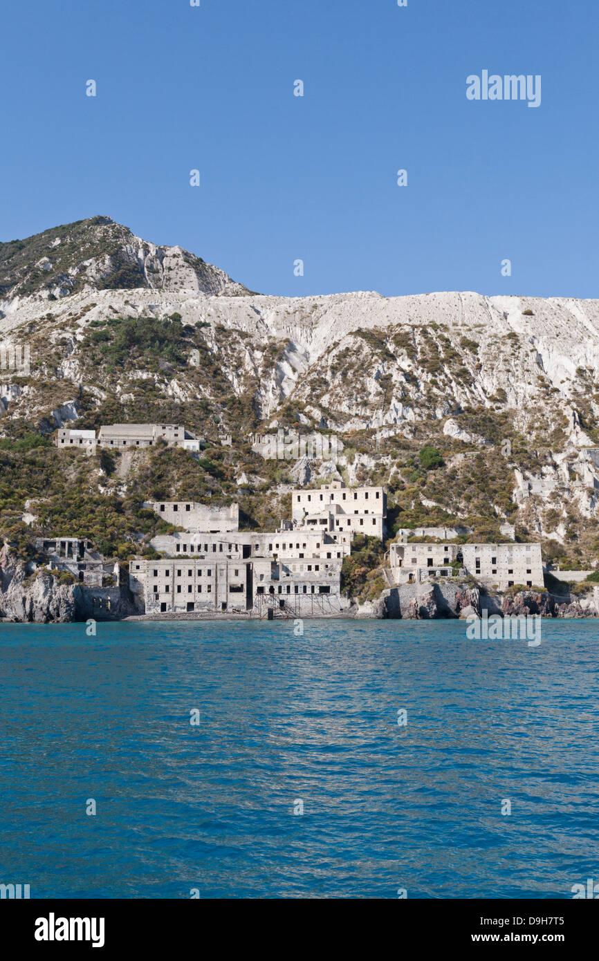 Cave di Pomice, Pumice, Campobianco, Lipari, Aeolian Islands, Italy - Stock Image