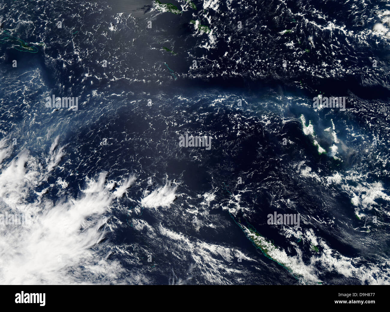 Satellite view of vog and ash from the Ambrym Volcano. - Stock Image