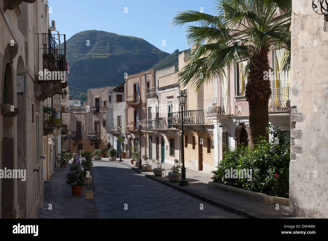 Streets and Alleys of Lipari, Aeolian Islands, Italy - Stock Image