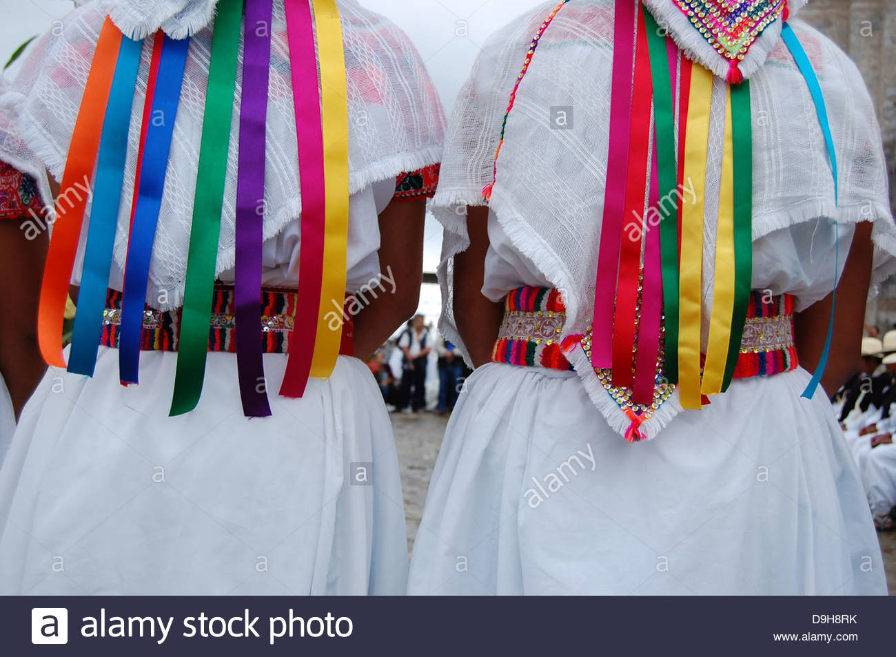 Closeup outdoor rear view  hand made indigenous Nahua Mexican womans womens  clothing showing colorful details - Stock Image