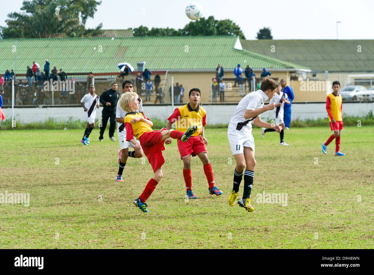 U15 Junior football teams playing a league match, Cape Town, South Africa Stock Photo
