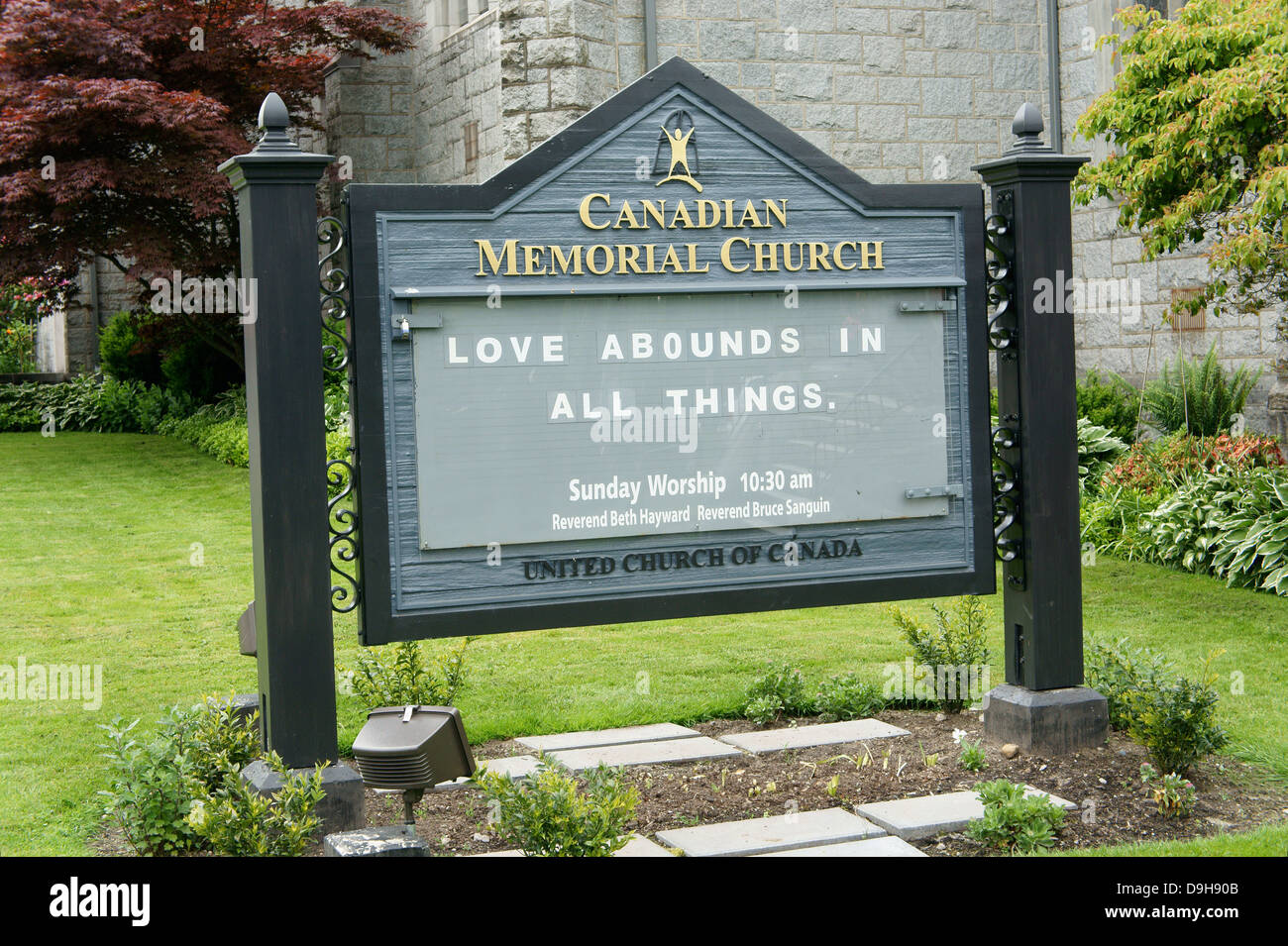 Spiritual message on a sign outside Canadian Memorial United Church, Vancouver, British Columbia, Canada - Stock Image