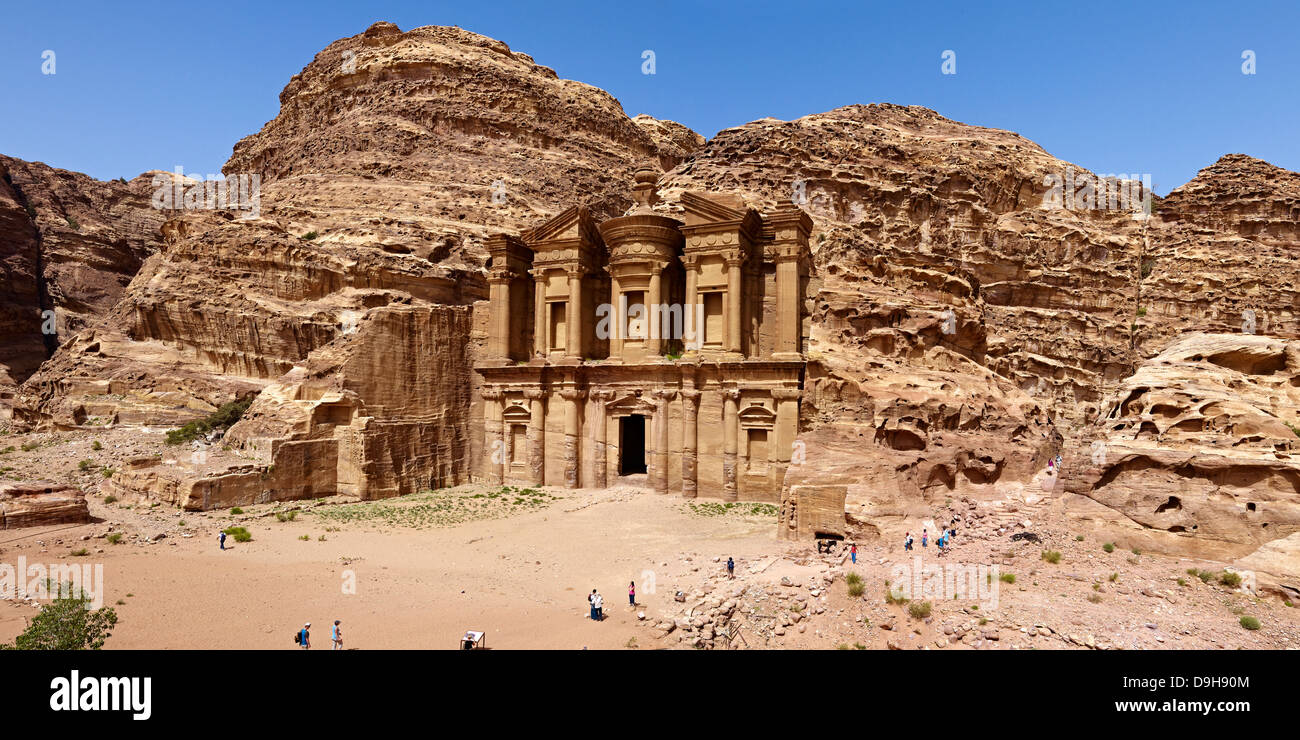 Rock grave ad-Deir or Monastery in Petra, Jordan, Middle East - Stock Image