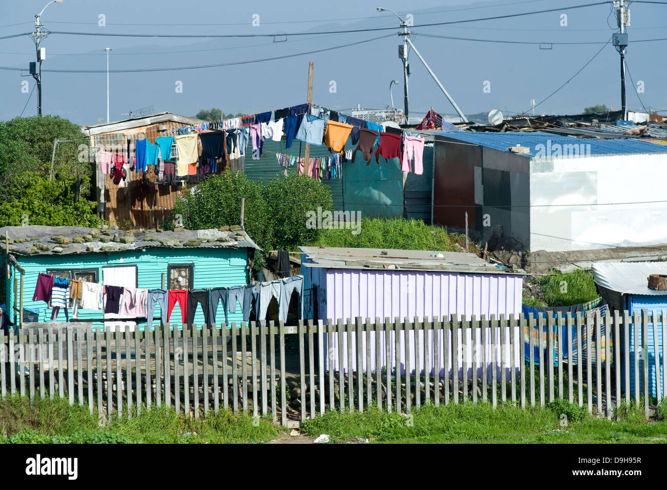Township in Gugulethu area along N2 highway, Cape Town, South Africa - Stock Image