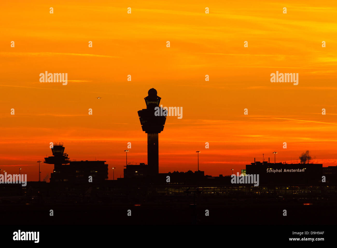 Amsterdam-Schiphol airport at sunset - Stock Image
