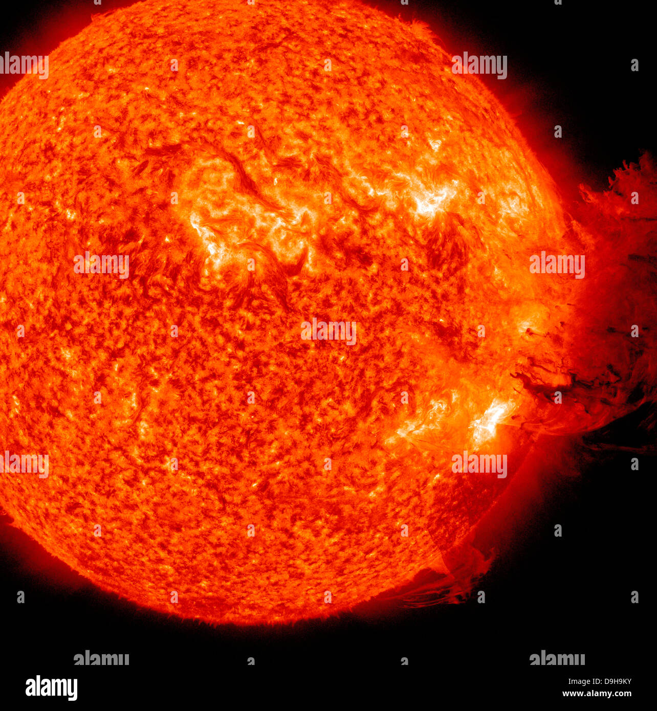 A M-2 solar flare with coronal mass ejection. - Stock Image