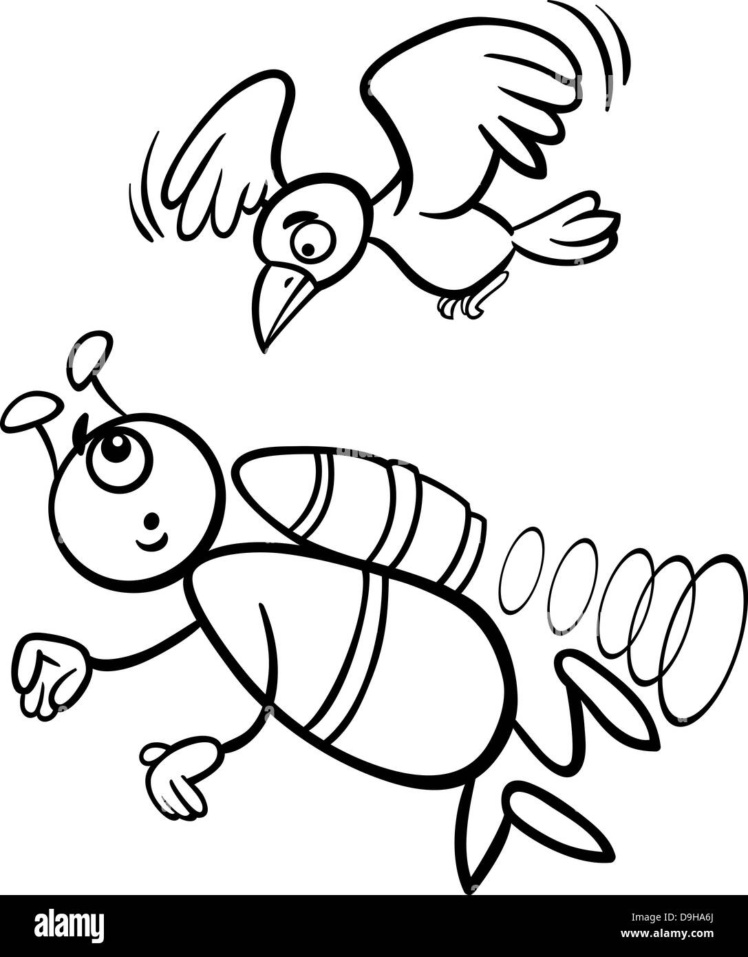 Black and White Cartoon Illustration of Funny Alien or Martian Comic Character Flying with Bird for Coloring Book - Stock Image
