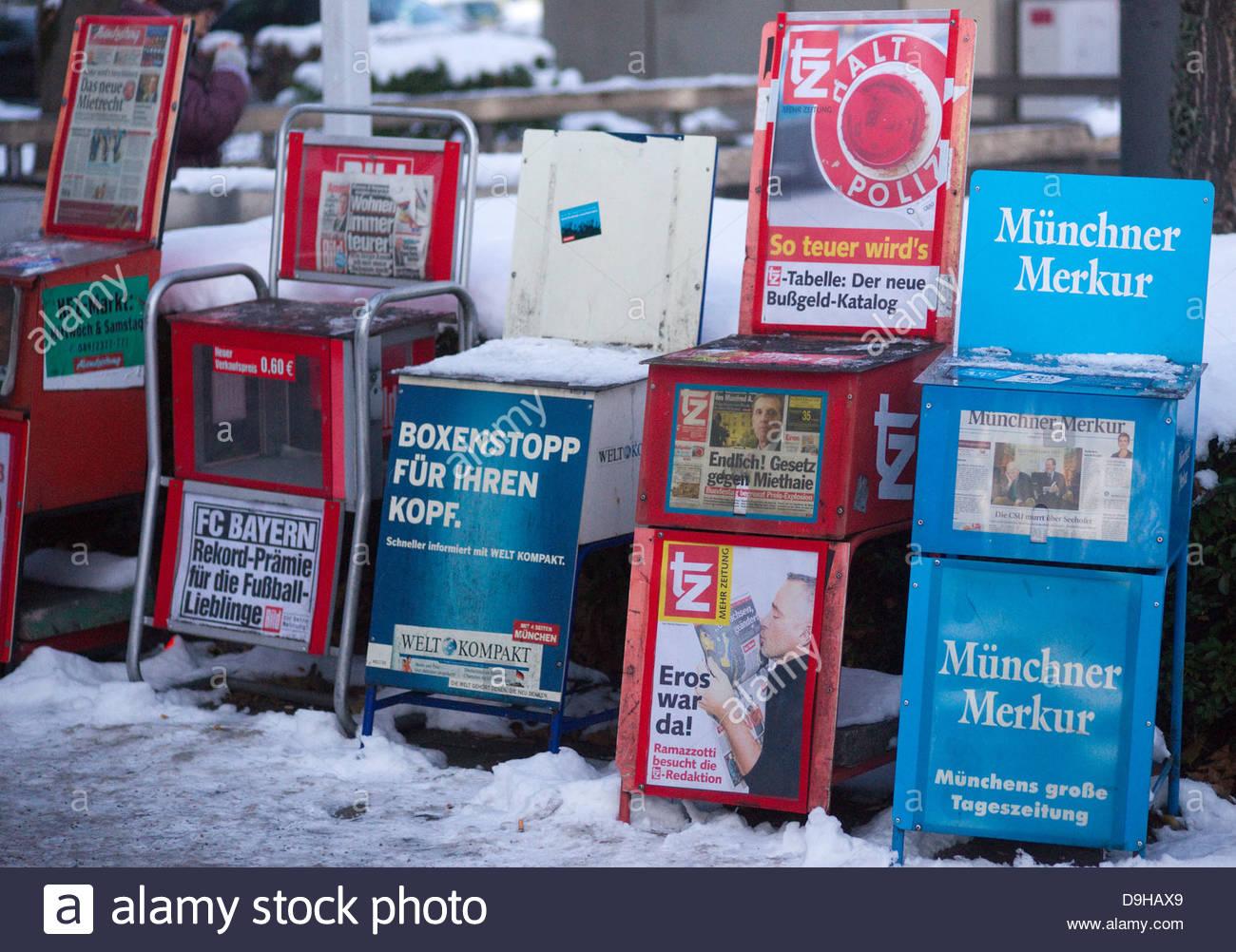 advertise advertising assortment daily dispenser display information news newspaper paper press publication rack - Stock Image