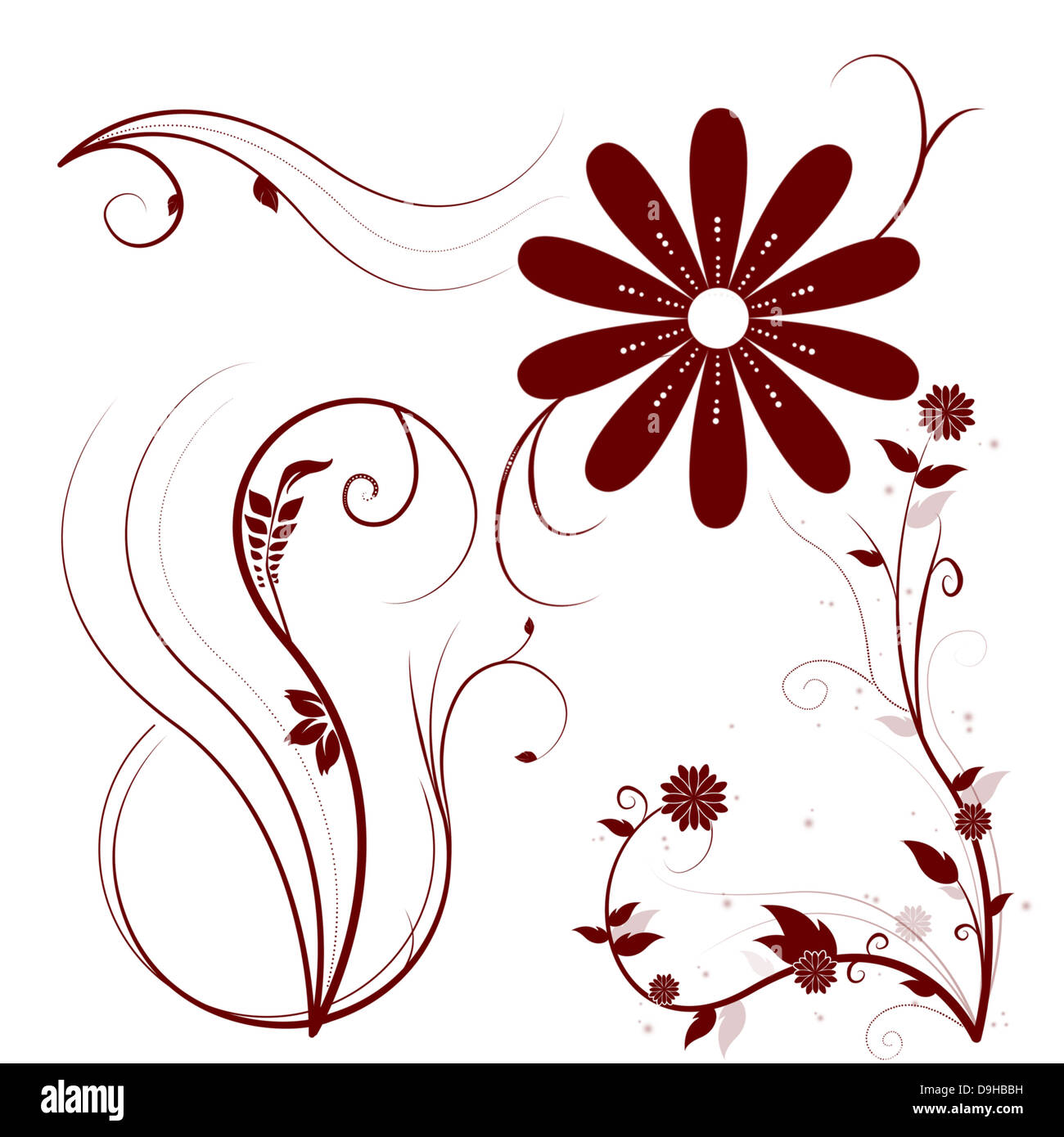 Beautiful illustrated flower background design Stock Photo