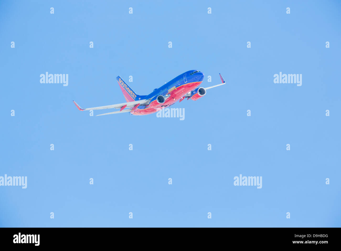 8bd19530446c Southwest Airlines Boeing showing a  Free Bags Fly Here  label - Stock Image