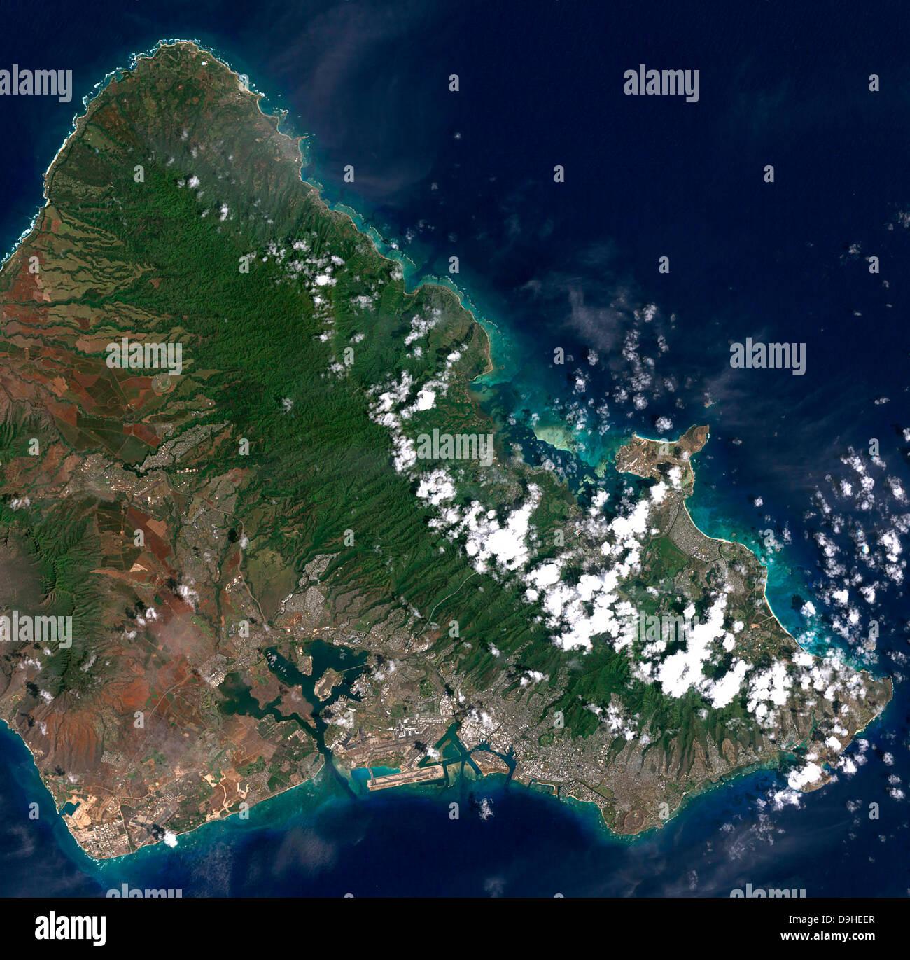 Oahu Satellite Map Satellite view of Honolulu, Oahu, Hawaii Stock Photo: 57547583   Alamy