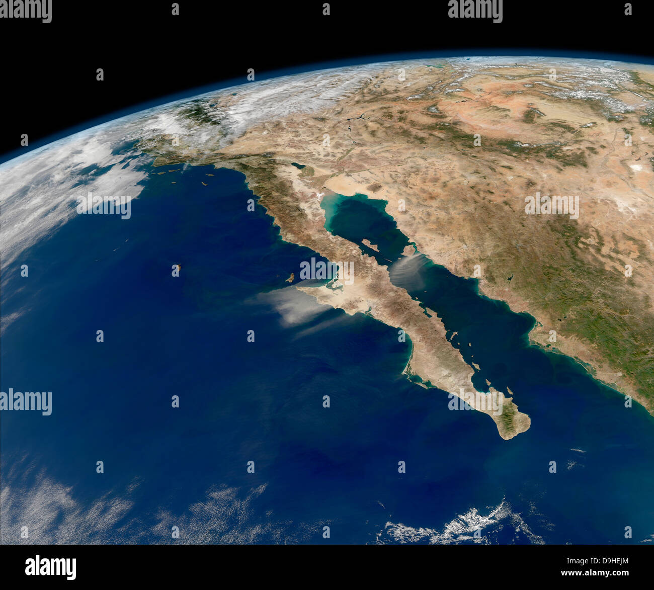 Oblique view of Baja California and the Pacific coast of Mexico. - Stock Image