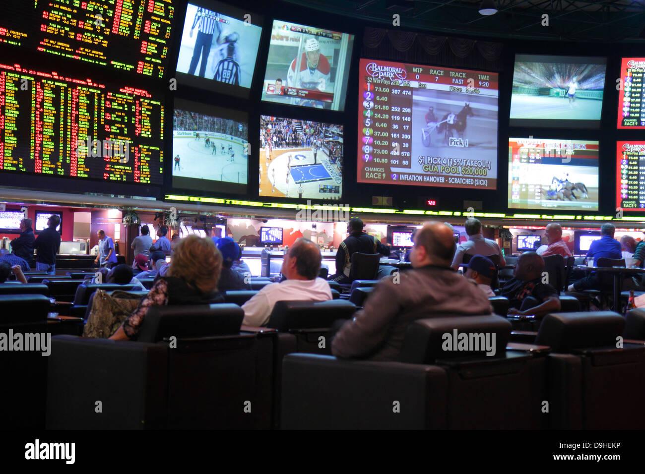 Nevada Las Vegas Las Vegas Hotel & Casino LVH race sports book betting odds gamblers gambling monitors big screens - Stock Image