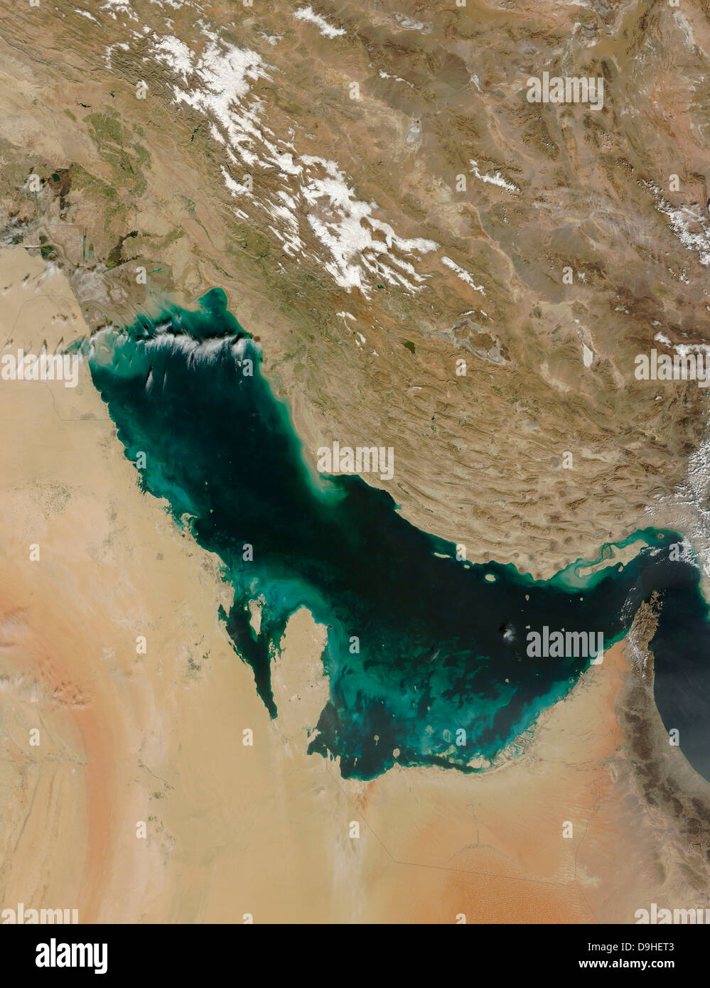Satellite view of the Persian Gulf. - Stock Image