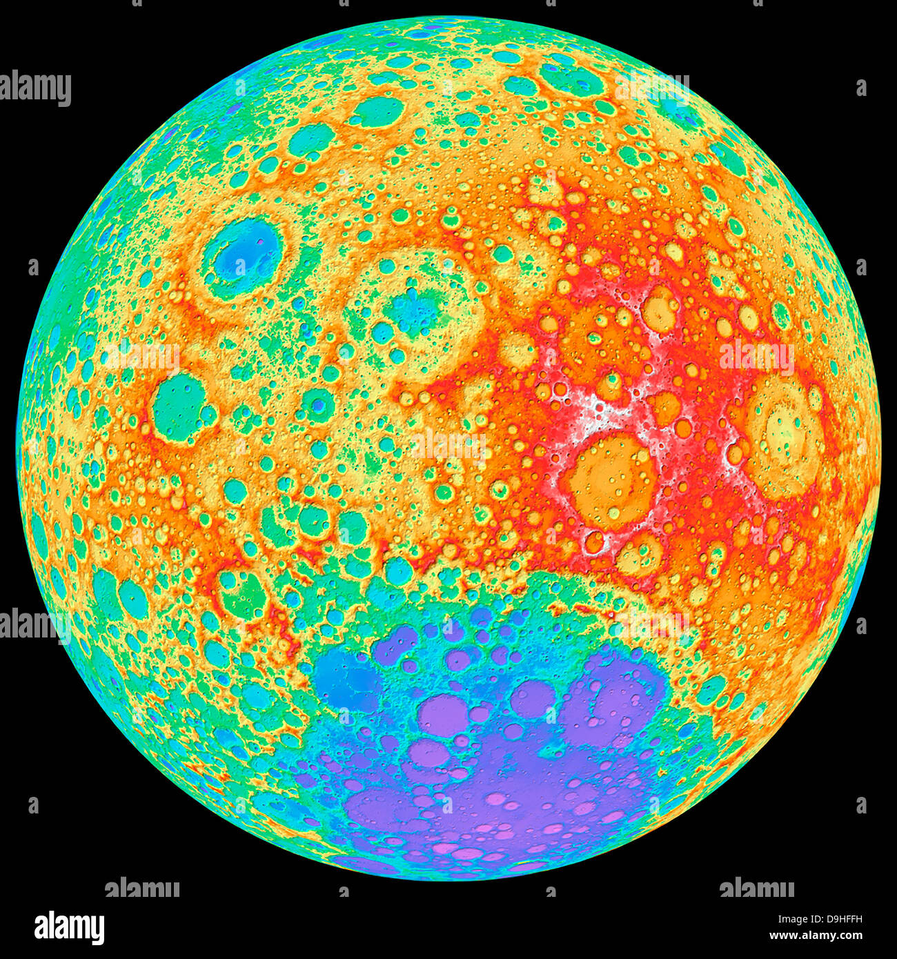 Color shaded relief of the lunar farside. - Stock Image