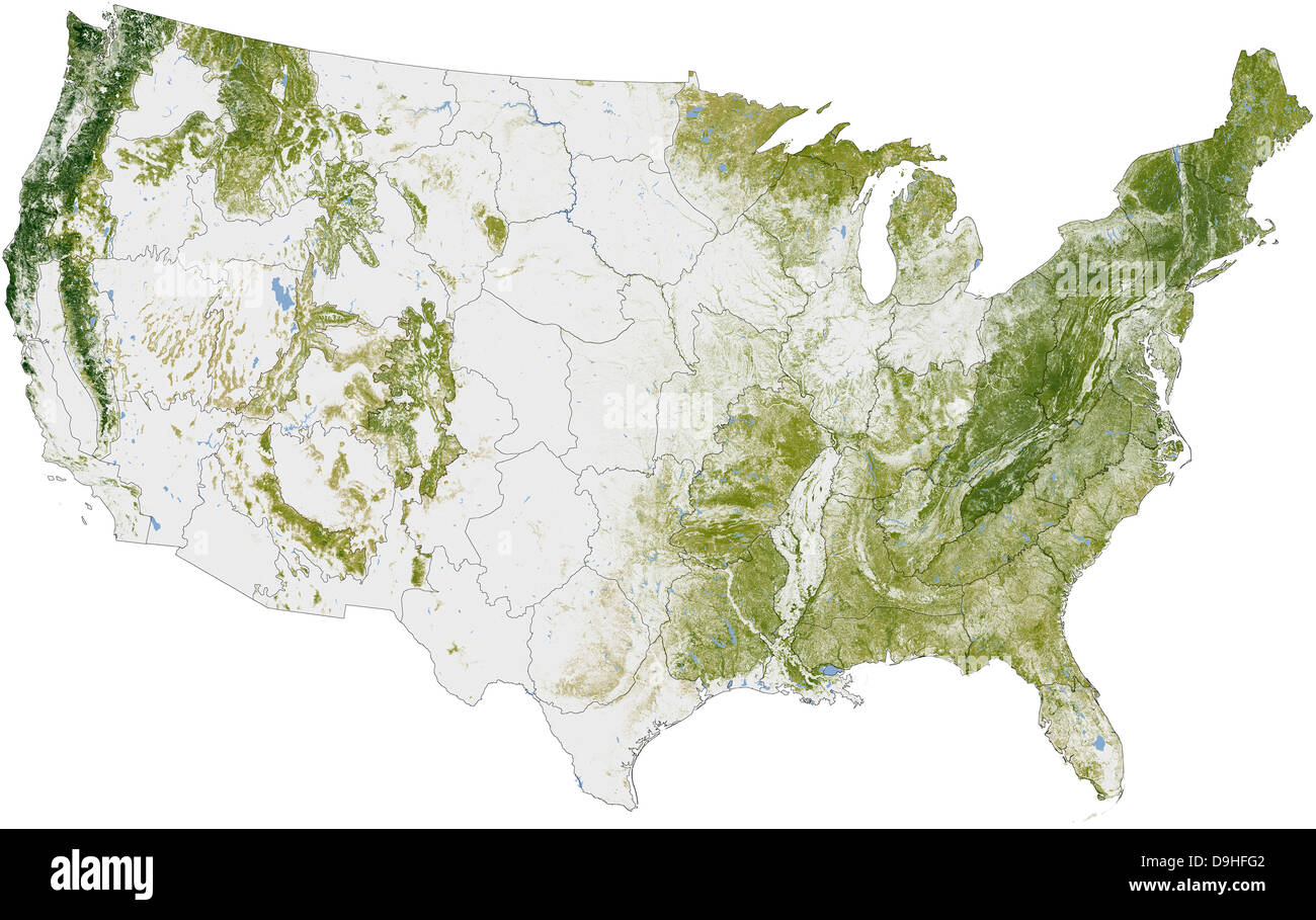 Map of the United States showing the concentration of biomass. - Stock Image