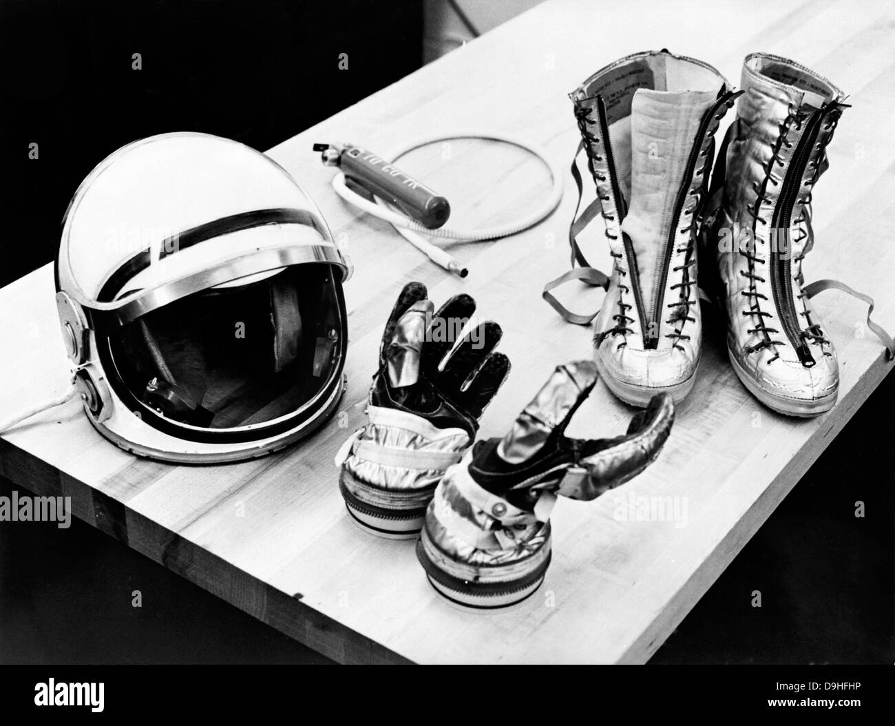 Components of the Mercury spacesuit included gloves, boots and a helmet. - Stock Image
