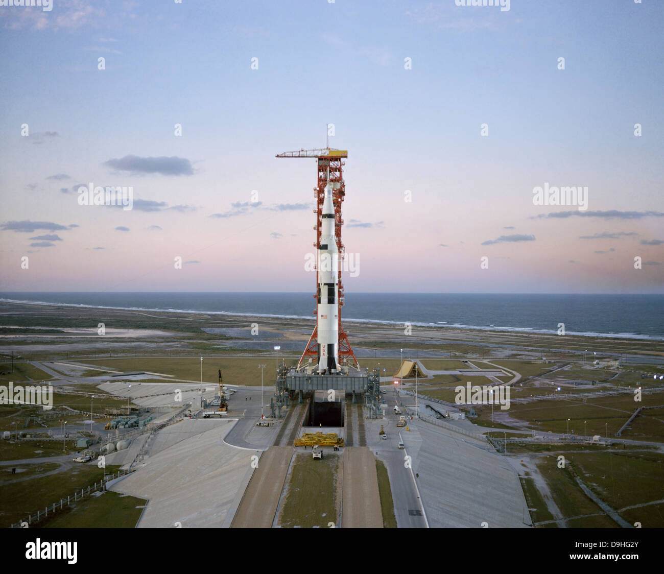 High-angle view of the Apollo 8 spacecraft on the launch pad. - Stock Image