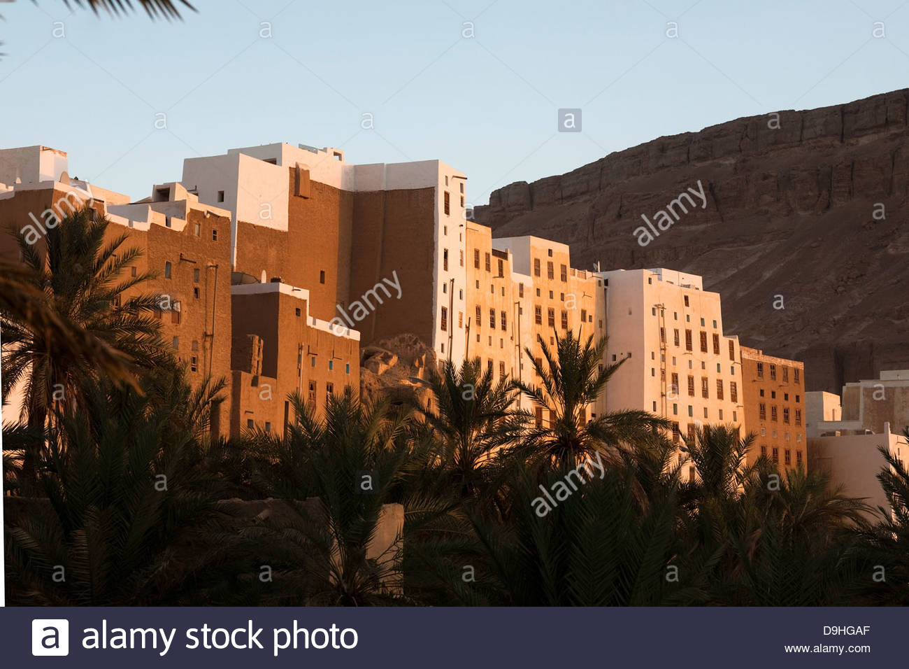 Low angle view of apartments in a city, Shibam, Hadhramaut, Yemen - Stock Image