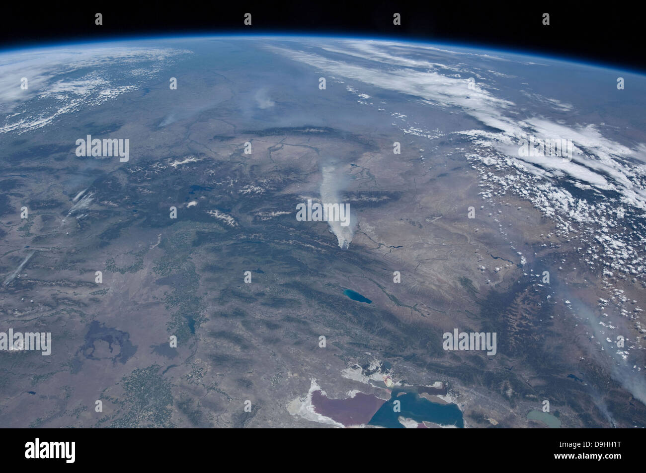 View from space of the wild fires in the western and southwestern United States - Stock Image