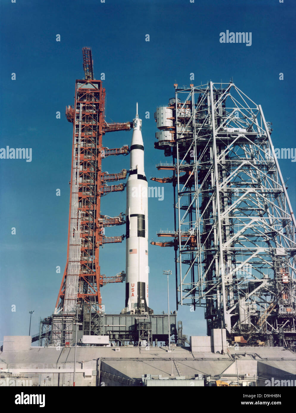 The Apollo 8 space vehicle on the launch pad at Kennedy Space Center - Stock Image