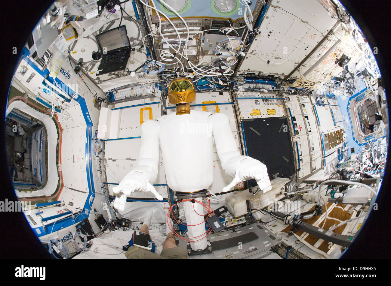 A humanoid robot in the Destiny laboratory of the International Space Station. - Stock Image