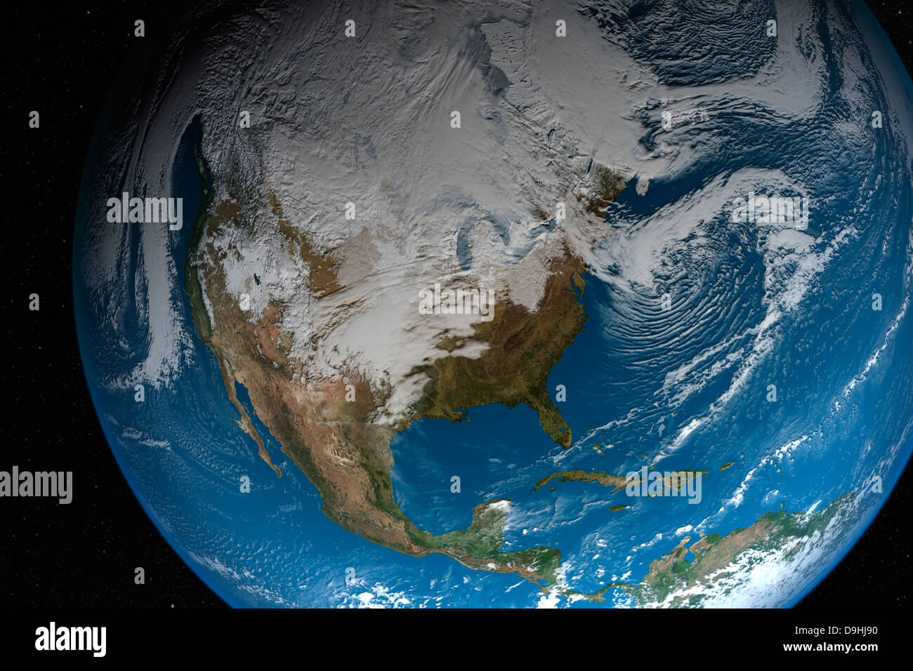 Ful Earth showing simulated clouds over North America. - Stock Image