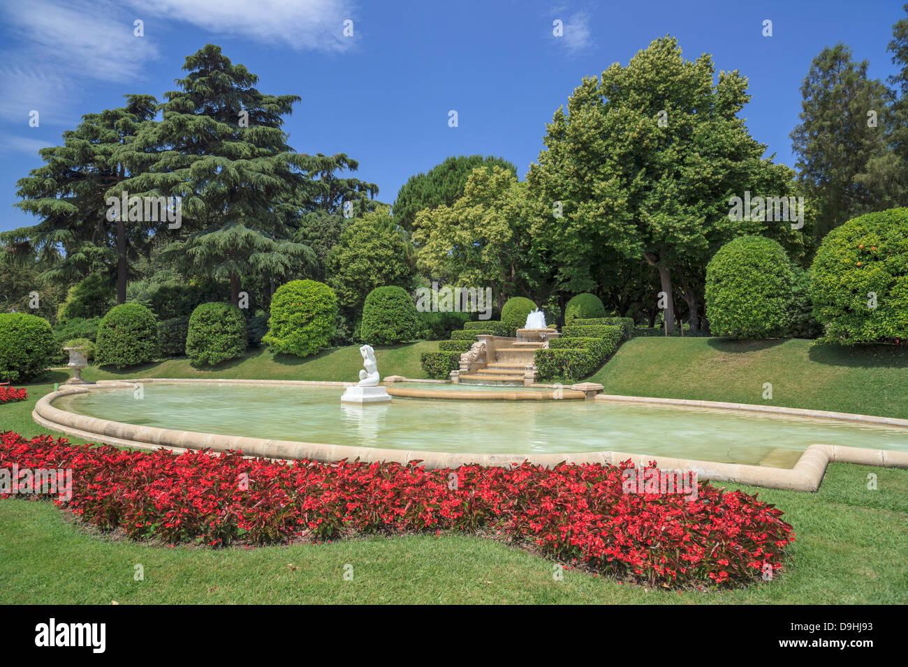 Garden in Palau Reial de Pedralbes,Barcelona - Stock Image