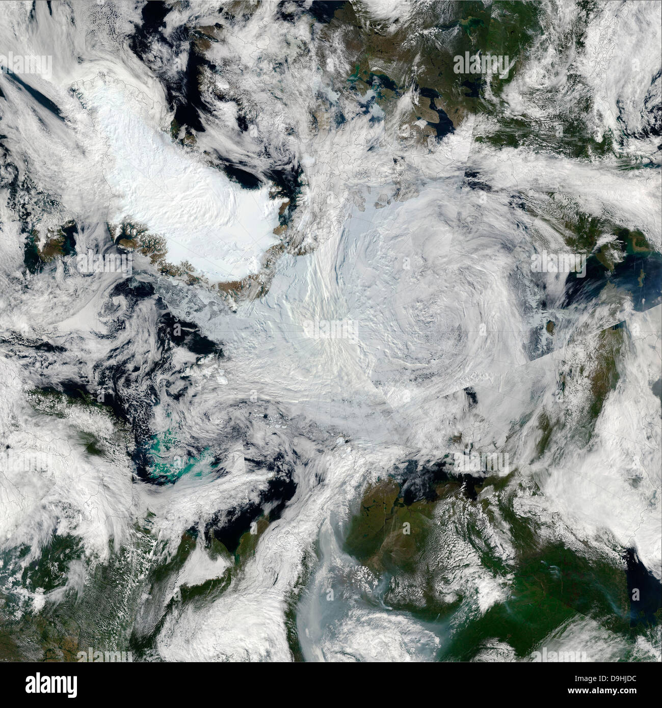 A strong storm lingering in the center of the Arctic Ocean. - Stock Image