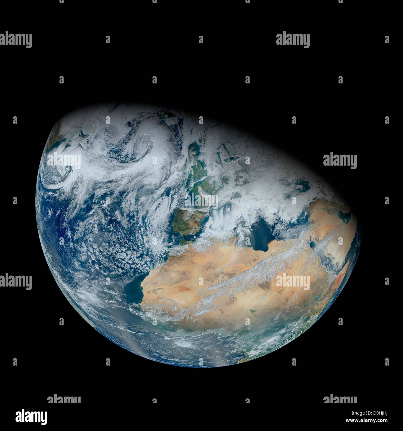 February 3, 2012 - Synthesized view of Earth showing North Africa and southwestern Europe. - Stock Image