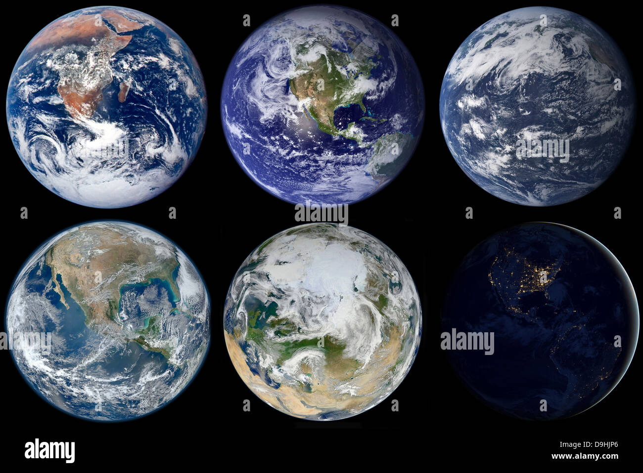 Image comparison of iconic views of planet Earth. - Stock Image