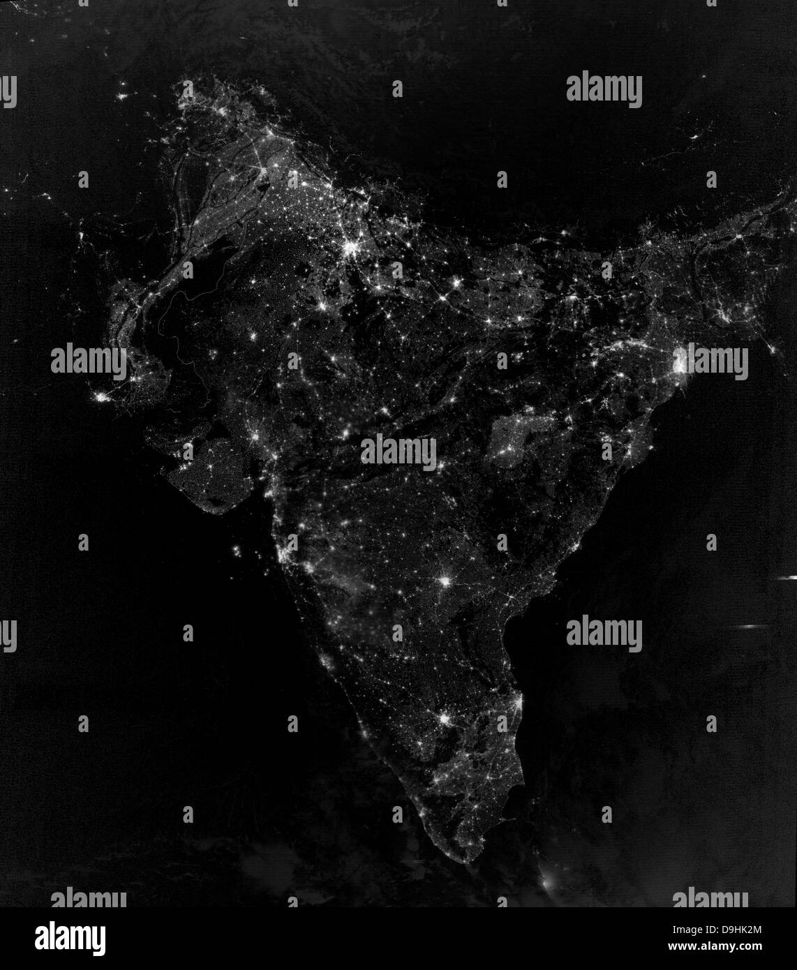 November 12, 2012 - Satellite view of city, village, and highway lights in India. - Stock Image